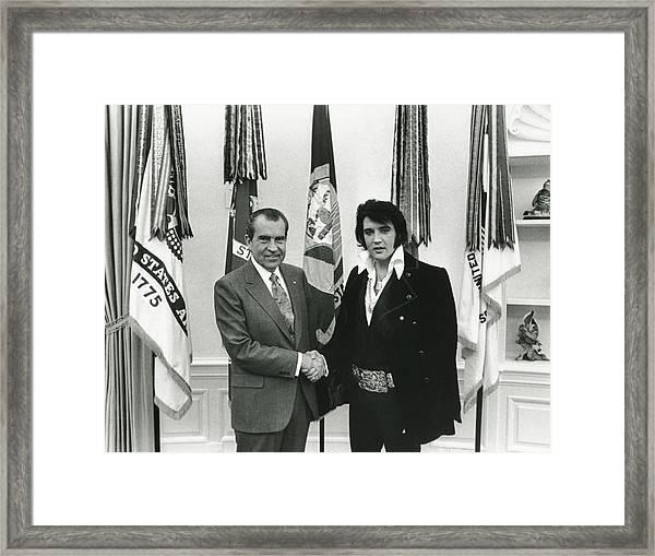 Elvis And Nixon Framed Print