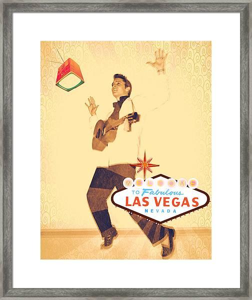 Elvis On Tv Framed Print