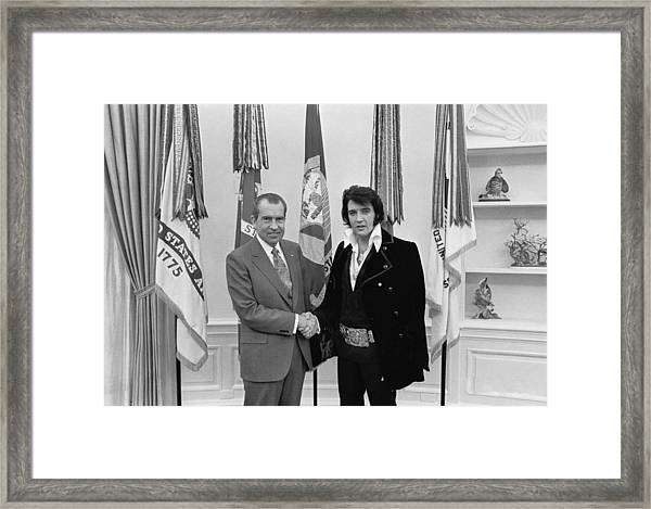 Elvis Presley And Richard Nixon-featured In Men At Work Group Framed Print