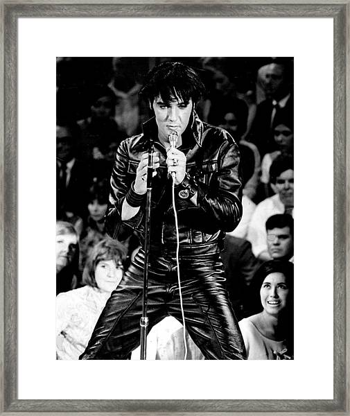 Elvis Presley In Leather Suit Framed Print