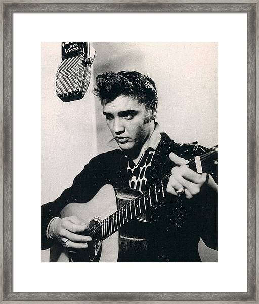 Elvis Presley Plays And Sings Into Old Microphone Framed Print