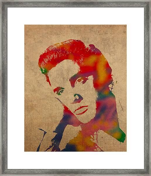 Elvis Presley Watercolor Portrait On Worn Distressed Canvas Framed Print