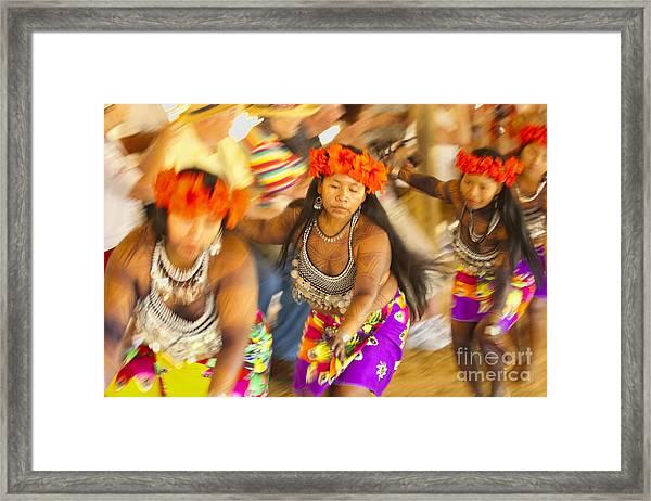 Embera Villagers In Panama Framed Print