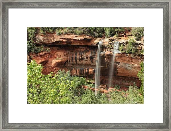 Emerald Pool Falls Framed Print by Darryl Wilkinson