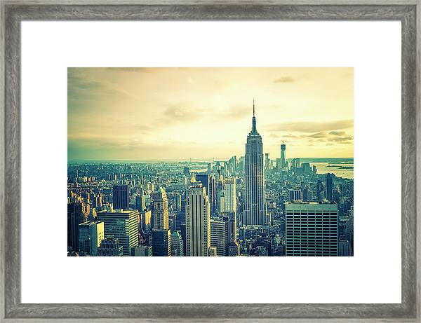 Empire State Building And Manhattan Framed Print
