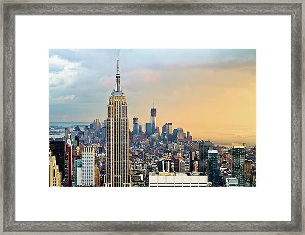 Empire State Building And One World Framed Print