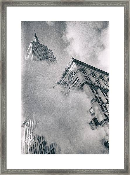 Empire State Building And Steam Framed Print