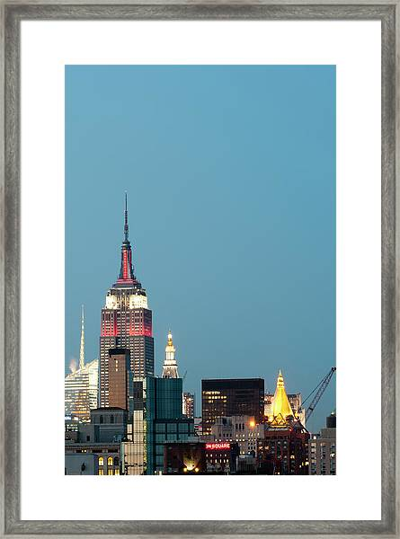 Empire State Building At Dusk Framed Print