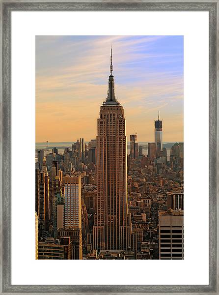 Empire State Building At Sunset Xxxl Framed Print