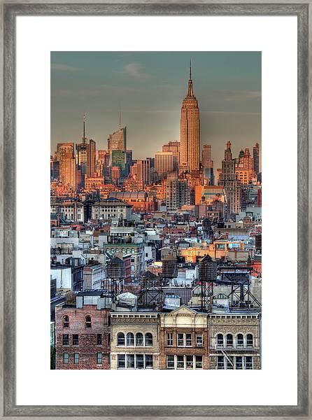 Empire State Building Hdr I Framed Print