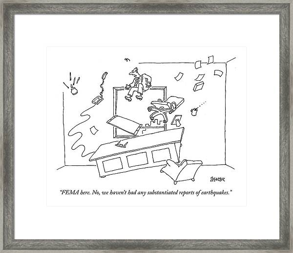 Employee And Furniture Being Strewn Framed Print