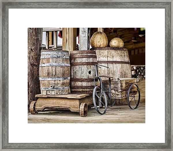 Emptied Barrels Framed Print