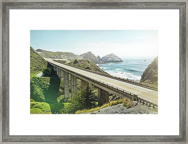 Empty Bridge Overlooking The Sea Framed Print