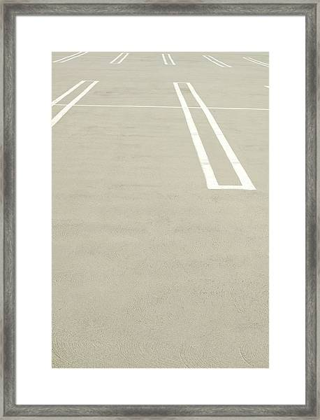 Empty Parking Lot Spaces Framed Print