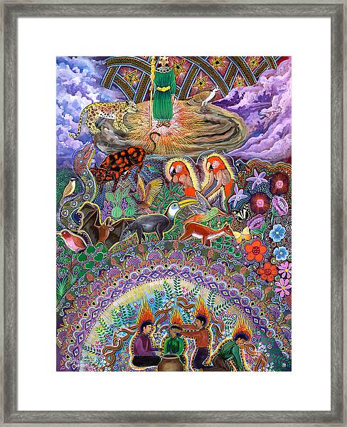 Framed Print featuring the painting Encanto Rumi  by Pablo Amaringo