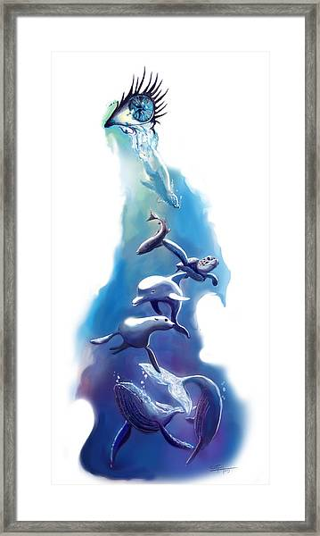 endangered sea life Water colour giclee print with eye and sea mammals Ocean Tears Framed Print