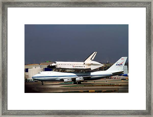 Endeavor And Nasa 747 Taxi After Final Landing Framed Print