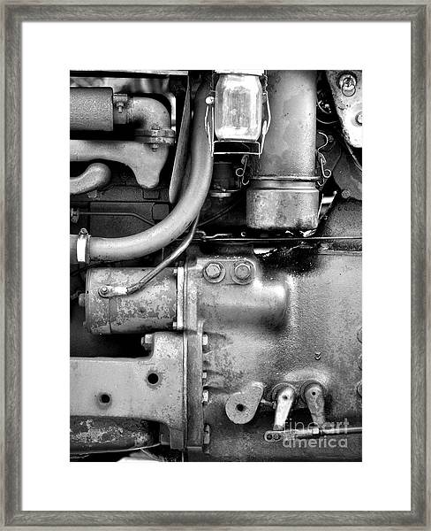 Engine Black And White Framed Print