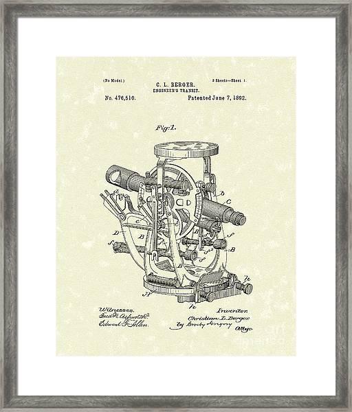Engineer's Transit 1892 Patent Art Framed Print