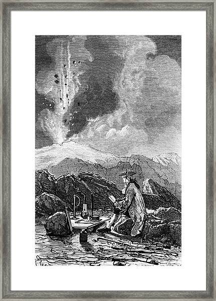 Engraving Of Mt Etna Being Observed By Spallanzani Framed Print