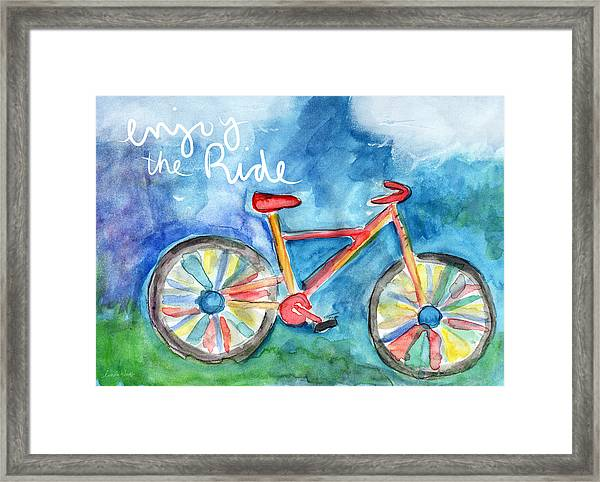 Enjoy The Ride- Colorful Bike Painting Framed Print