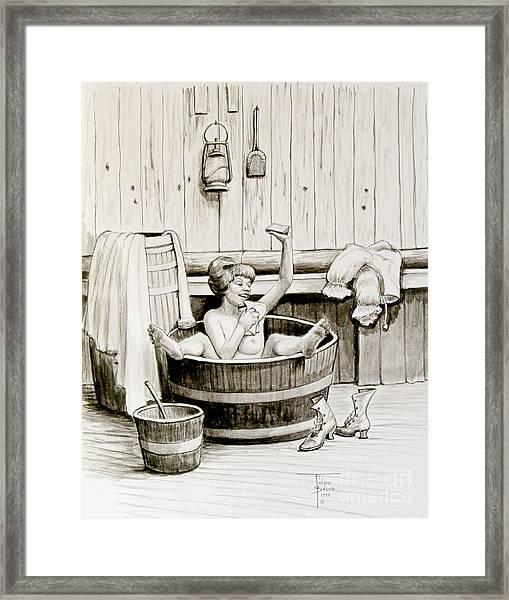 Bawdy Lady Bath - 1890's Framed Print