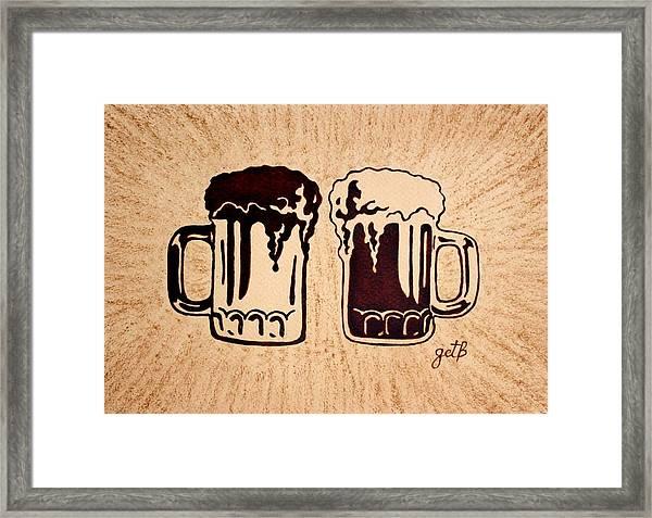 Enjoying Beer Framed Print