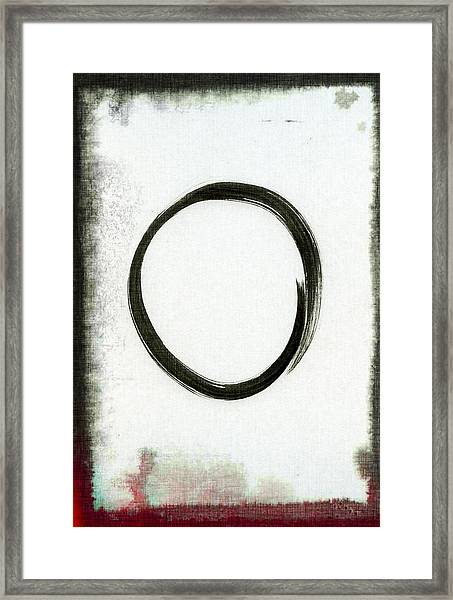 Enso #2 - Zen Circle Abstract Black And Red Framed Print