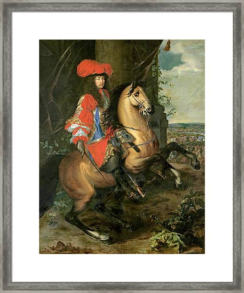 Equestrian Portrait Of Louis Xiv 1638-1715 Oil On Canvas Framed Print