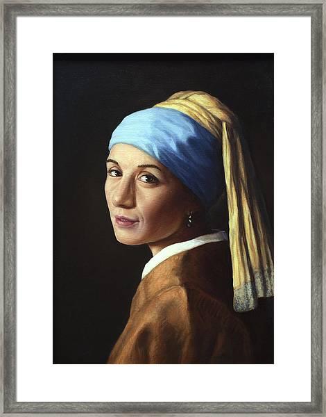 Erika With A Pearl Earring Framed Print