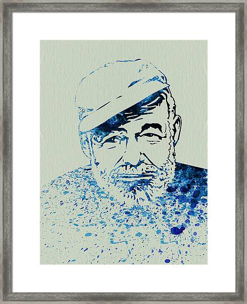 Ernest Hemingway Watercolor Framed Print