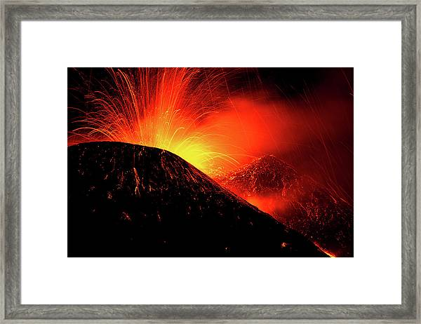 Eruption By Night Framed Print