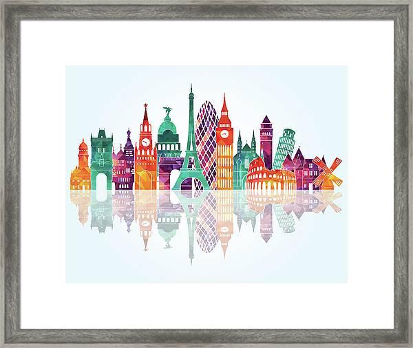 Europe Skyline Detailed Silhouette Framed Print