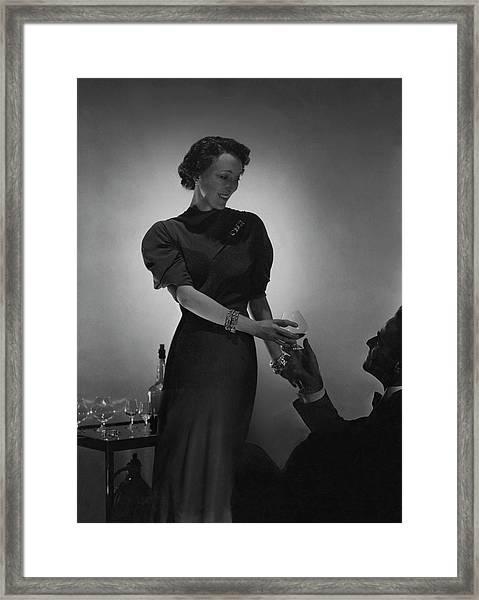 Evelyne Greig Modeling A Dress Framed Print