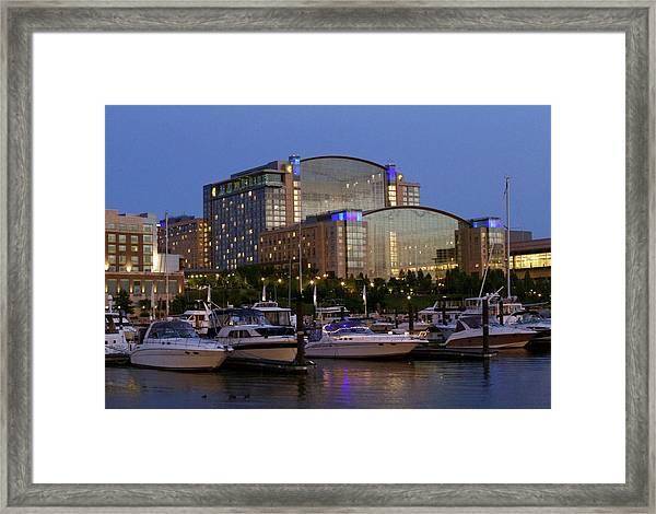 Evening At Washington National Harbor Framed Print