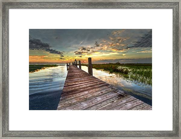 Evening Dock Framed Print
