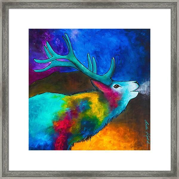 Evening Elk Framed Print