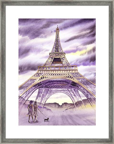 Evening In Paris A Walk To The Eiffel Tower Framed Print