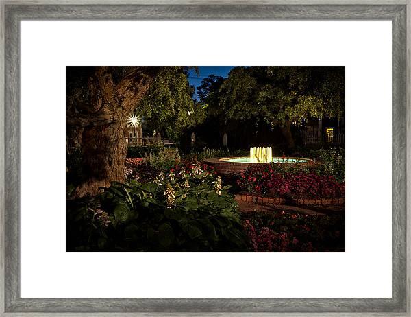 Evening In The Garden Prescott Park Gardens At Night Framed Print