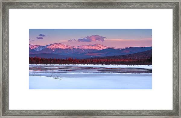 Evening Light On The Presidential Range. Framed Print