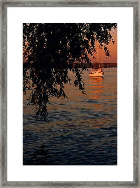 Evening Mooring - Lake Geneva Wisconsin Framed Print