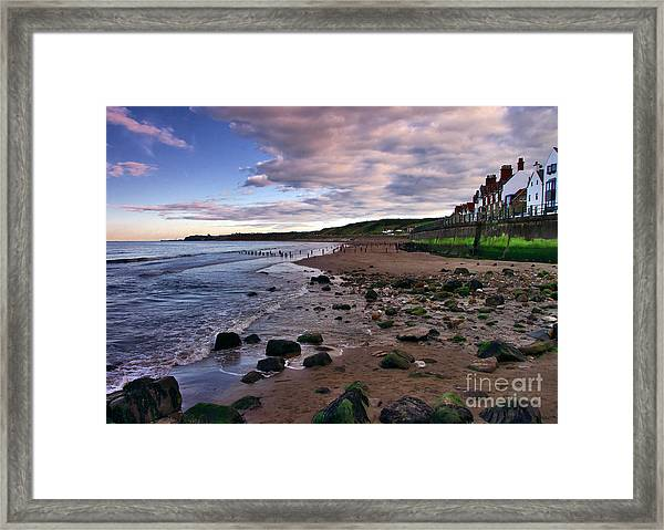 Evening On Sandsend Beach Yorkshire Framed Print