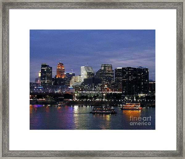 Framed Print featuring the photograph Evening On The River by Mel Steinhauer