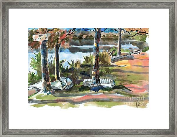 Evening Shadows At Shepherd Mountain Lake  No W101 Framed Print