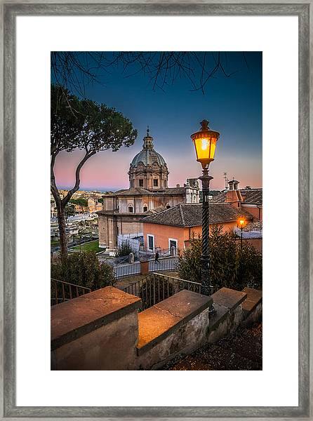 Evening Stroll In Rome Framed Print by W Chris Fooshee