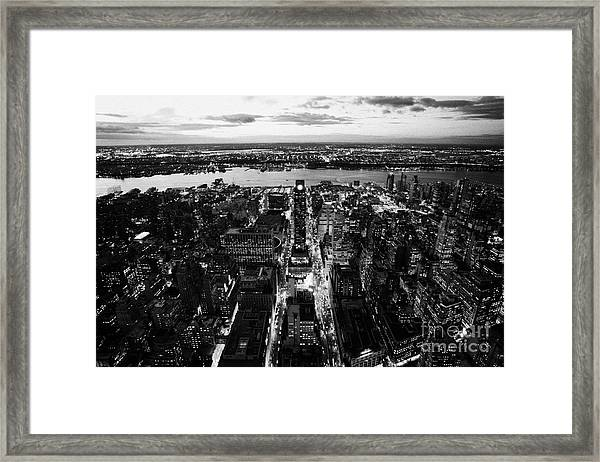 Evening View Of Manhattan West Towards Hudson River And One Penn Plaza Night New York City Framed Print