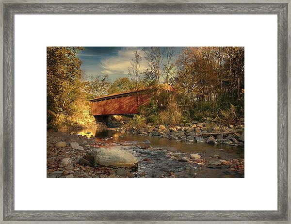 Everett Rd Summit County Ohio Covered Bridge Fall Framed Print