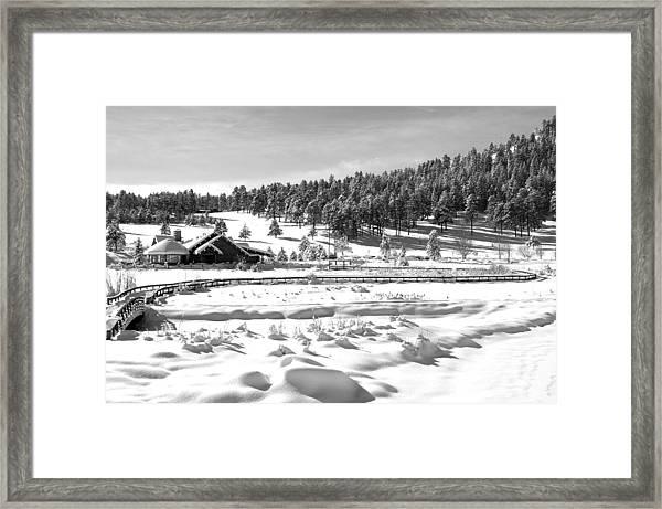 Evergreen Lake House In Winter Framed Print