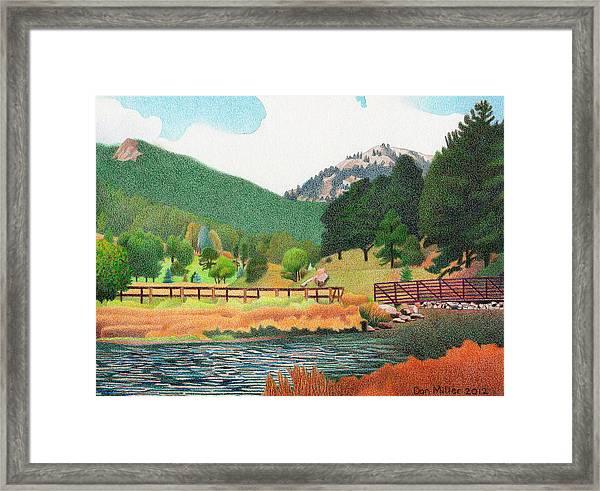 Evergreen Lake Spring Framed Print