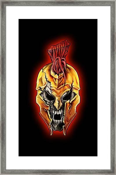 Evil Spartan Skull Framed Print
